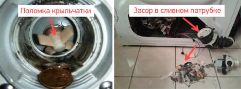 Через що відсутня злив води з пральної машини