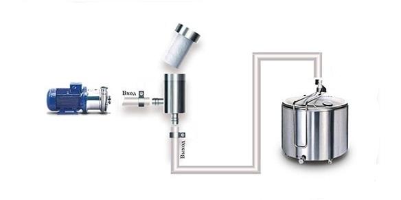 Схема установки молочного фильтра